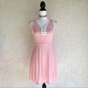 Pastel Pink Textured Lace Up Dress